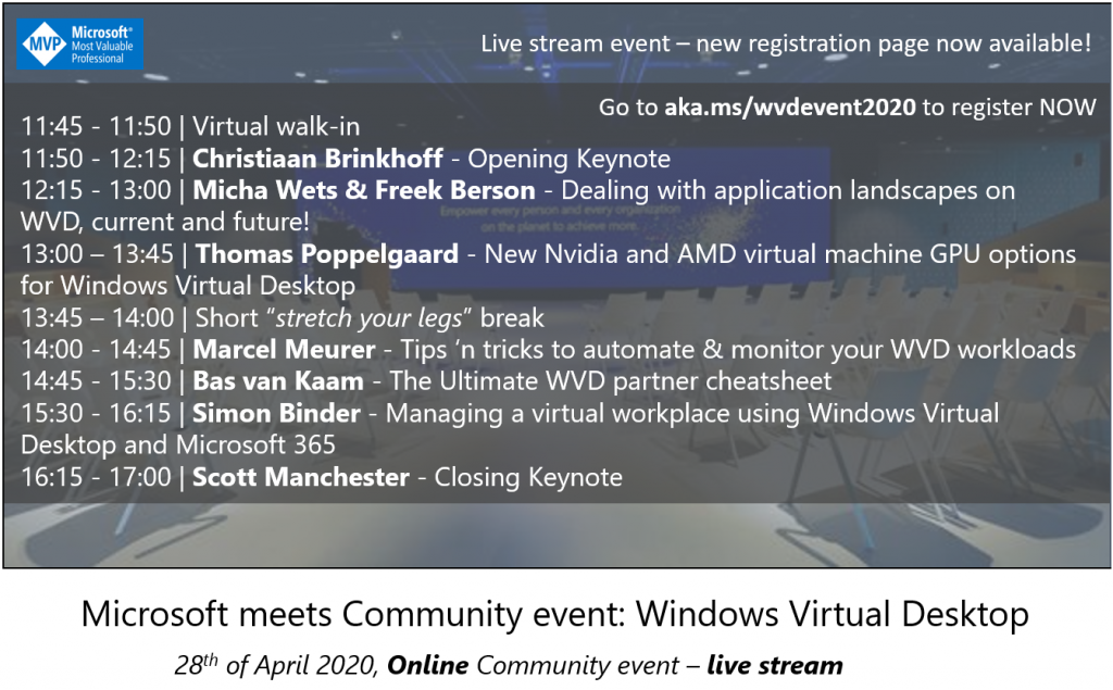 ONLINE EVENT ANNOUNCEMENT – Microsoft meets Community event: Windows Virtual Desktop – 28th of April, 2020
