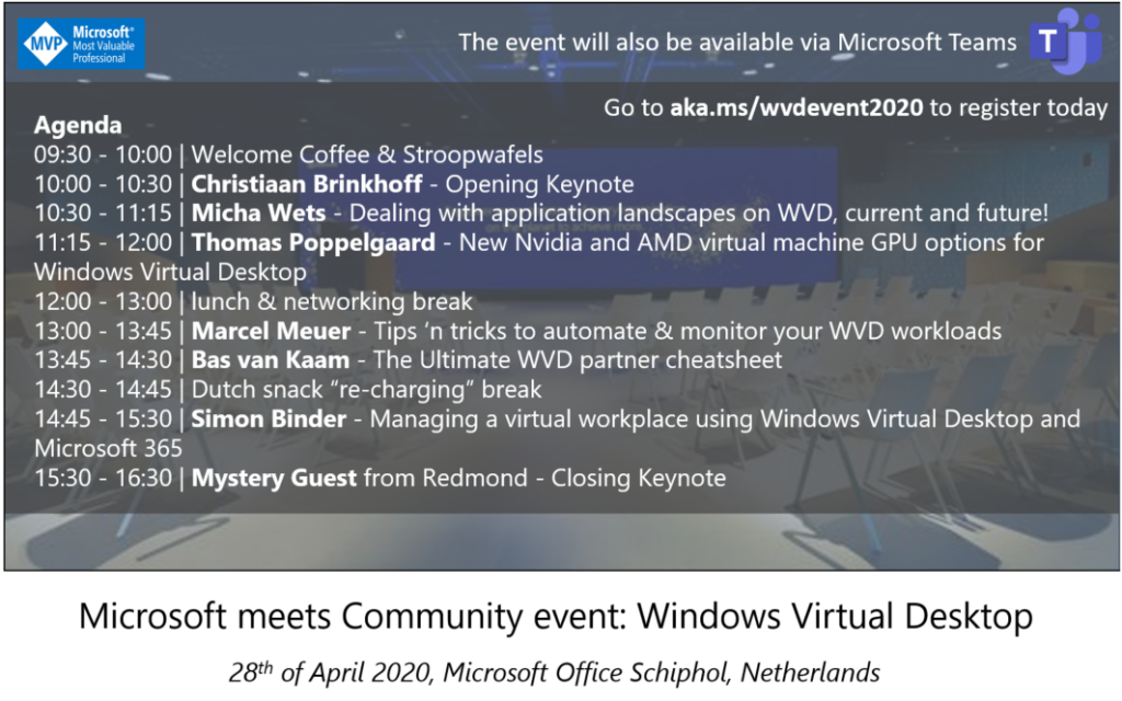 Event announcement – Microsoft meets Community event: Windows Virtual Desktop – 28th of April, 2020 (live stream event via Teams)